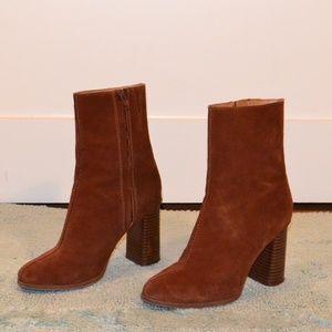 MANGO High Heeled Suede Boots (bronze / maroon)